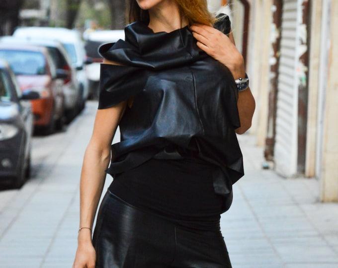 Extravagans Black Leather Sexy Tunic Top, Plus Size Blouse, Loose Black Leather Top, Maxi Tunic By SSDfashion
