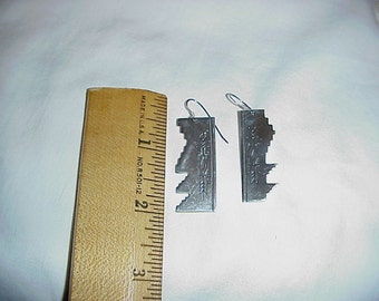Sterling Cut Out Indian Design Pierced Earrings Signed Sam