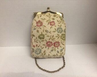Vintage, JR, Floral, Tapestry Handbag, Purse
