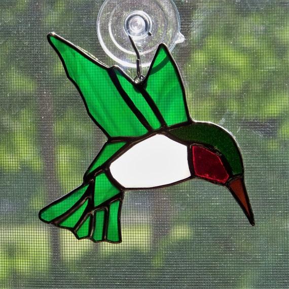 Ruby-throated Hummingbird Stained Glass Suncatcher