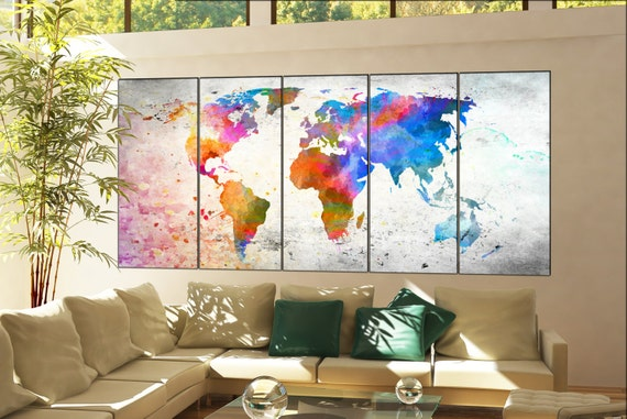world map  print on canvas wall art world map  decor Print artwork large world map  home office decoration 5 panel