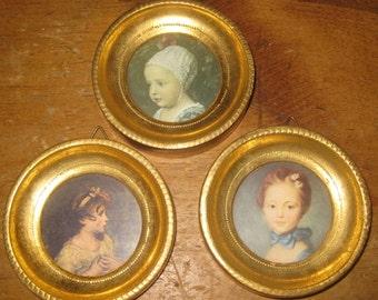 Sweet Florentine, Italy, Miniature Portrait Trio of a Young Girl