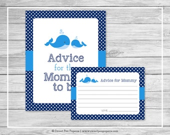 Whale Baby Shower Advice for Mom Cards - Printable Baby Shower Advice Cards - Blue Whale Baby Shower - Advice for Mom to Be - SP127