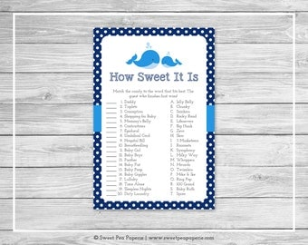 Whale Baby Shower How Sweet It Is Game - Printable Baby Shower How Sweet It Is Game - Blue Whale Baby Shower - How Sweet Game - SP127
