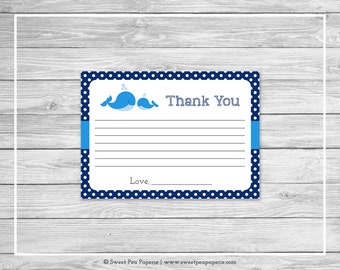 Whale Baby Shower Thank You Cards - Printable Baby Shower Thank You Cards - Blue Whale Baby Shower - Shower Thank You Cards - SP127