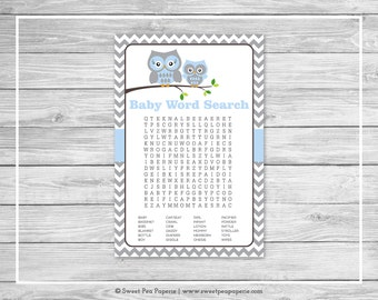Owl Baby Shower Baby Word Search Game - Printable Baby Shower Word Search Game - Blue Owl Baby Shower - Owl Shower- Baby Word Search - SP135