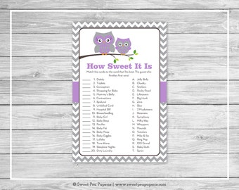Owl Baby Shower How Sweet It Is Game - Printable Baby Shower How Sweet It Is Game - Purple Owl Baby Shower - How Sweet Shower Game - SP136