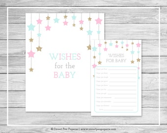 Twinkle Little Star Gender Reveal Wishes for Baby Cards - Printable Wishes for Baby Cards - Pink Aqua Gold Gender Reveal Party - SP139