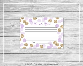 Purple and Gold Baby Shower Thank You Cards - Printable Baby Shower Thank You Cards - Purple Glitter Baby Shower - Thank You Cards - SP109