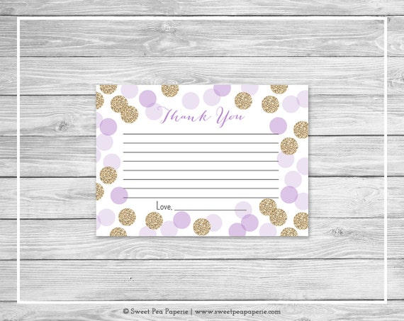 purple and gold baby shower thank you cards printable baby shower