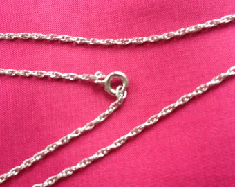CABLE CHAINS 6 ~Vintage~18 inches~Sterling Silver~New Old Stock~Stamped Sterling~Soldered Links~Rhodium Finish~Original Package~Dainty Chain