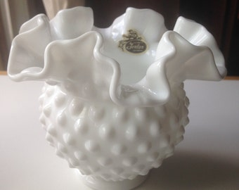 Vintage Authentic Fenton Milkglass Hobnail Vase with Fluted Top