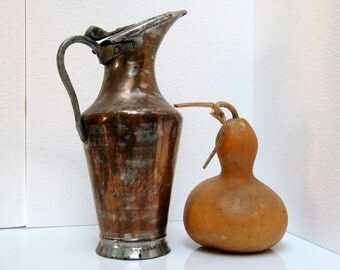 Antique Copper Turkish Middle East Large Jug wit lid, Handmade Hammered Copper Pitcher, late 19th – early 20th century, Kitchen Garden decor