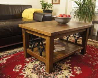 Solid Reclaimed Oak Coffee Table with Gothic Cast Iron Spindles,  and Finished With Ebony Wax