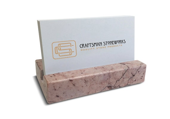 Recycled pink marble business card holder for Marble business card holder
