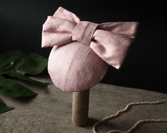 Pink Fascinator Silk Bow