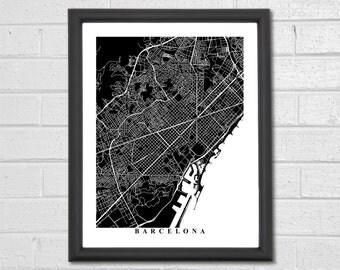Barcelona Map Art - Map Print - City Map - Black and White Map - Barcelona Spain - Europe - Catalonia - Housewarming - Map Print