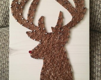 CUSTOM Rudolph/Reindeer String Art, Christmas Decorations, Winter, Wall Decor, Christmas Gift