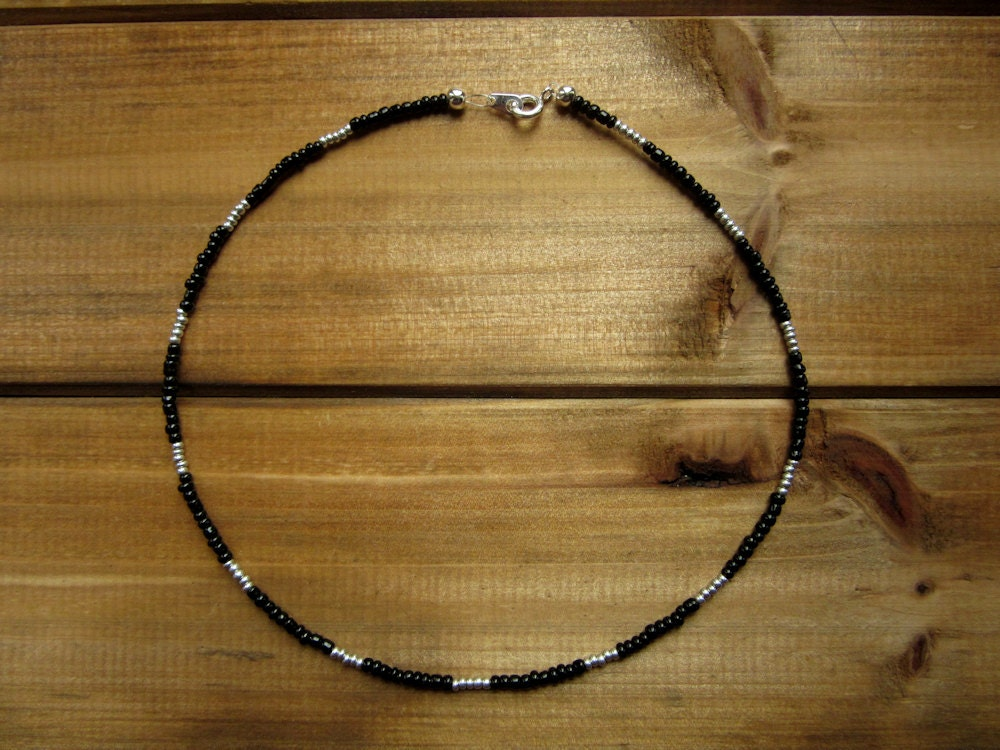 black and silver beaded choker necklace sterling by