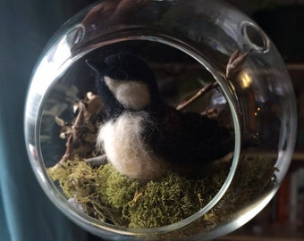 Hanging glass terrarium with needle felted bird (black capped chickadee)