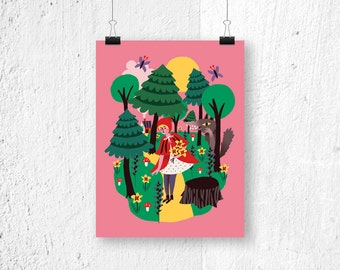 Poster Little Red Riding Hood - digital print - fairytale - wolf - kids room - children's bedroom - fairytales - cute print - pink