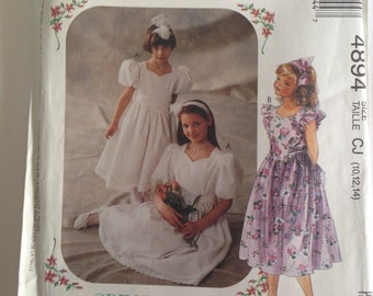 Sweetheart Neckline Girl's 10-12-14 Dress Sew Pattern #4894 McCalls Special Moments