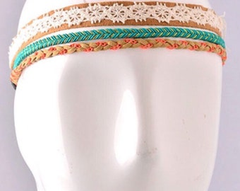 Lace Chevron Braided Headband Set, boho headband set, coachella