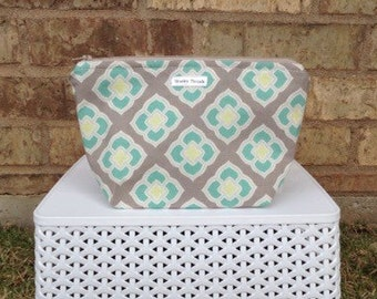 Large Teal and Taupe Makeup Bag *READY TO SHIP*