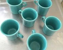 Set of Six HLC Fiesta Fiestaware Coffee Mugs in Seafoam Green