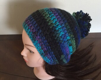 Womens winter hat, multi color hat, fall fashion, slouchy hat, crochet hat, pom pom hat,