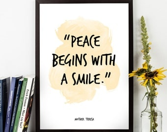 Peace begins (...) ,  Mother Teresa Quote, Alternative Watercolor Poster, Wall art, Motivational quote, Inspirational quote,