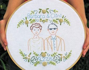 CUSTOM wedding embroidery, hoop art, 12 inch wedding embroidery, anniversary hoop art, anniversary gift, wedding gift