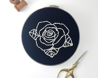 Embroidered Wall Art- Black and white rose- floral, flower,Home decor, hoop art, gift for him, gift for her.