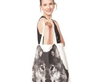 Cotton Canvas Wolf Tote Bag