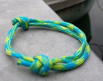 Sailing rope climbing, surfer bracelet green turquoise, flat, 4 mm, maritime nautical sailing knots, ropes, wire jewelry, sea surf Ocean