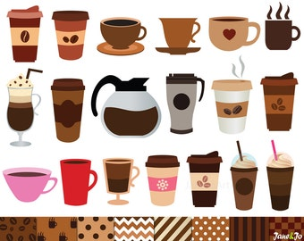 40 Coffee Clipart and 8 Digital Papers,Coffee Clip art,Coffe cup clipart,espresso,latte,cups,coffee break,coffee time,ice coffee,coffee pot