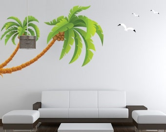 Marvelous Vinyl Wall Sticker Decal With Green Palm Tree And Birds For Living Room And  Bedroom , Part 28