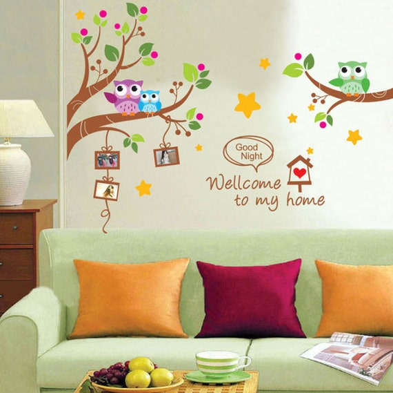 decal owls on branch tree welcome to my home kids children bedr