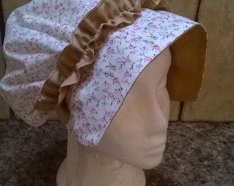 Edwardian,regency,jane austen style bonnet/coif hat, handmade from the UK
