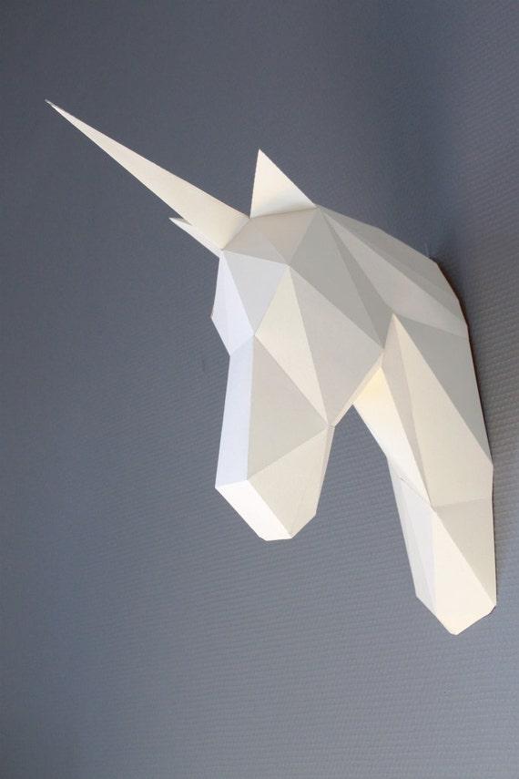 free cardboard taxidermy templates - papercraft unicorn head trophy faux taxidermy diy by