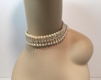 Vintage Hong Kong pearl choker necklace
