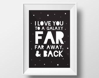 Galaxy Print, Star Wars Print, Love Decor, Star Wars Quote, The Force Art, Star Wars Galaxy, I Love you Print, Play Room, Nursery Art