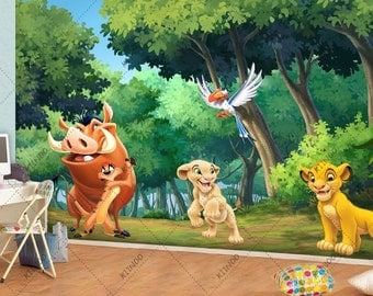 Simba Wall Mural, The Lion King Vinyl Mural, Wallpaper, Wall Décor, Nursery