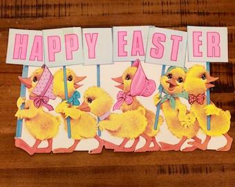 """Large Vintage Easter Die Cut/ """"Happy Easter""""/ Two-Sided Die Cut"""