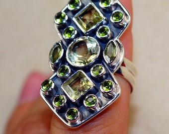 Stunning Green Amethyst with Peridot, Citrine & 925 Sterling Silver Ring size 7