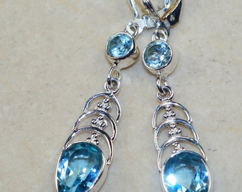 Blue Topaz & 925 Sterling Silver Earrings