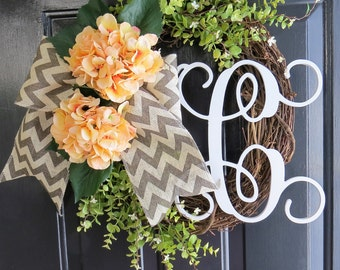 Peach Hydrangea Wreath. Spring Wreath. Summer Wreath. Monogram Wreath. Front Door Wreath. Chevron Wreath. Burlap Wreath. Grapevine Wreath.