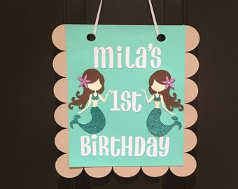 Mermaid Door Banner, Mermaid Welcome Sign, Under The Sea Door Banner, Birthday Welcome Sign,
