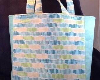 Tote bag, aquas, greens, yellow, white, errand bag, carry all, project bag, knitting or crocheting, all purpose tote bag.
