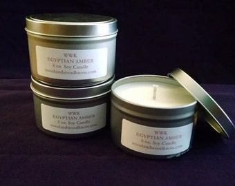 Scented Soy Candles/Egyptian Amber/Very Vanilla/8 oz. tin